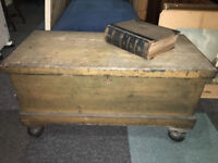 Beautiful Antique Lockable Rustic Wooden Coffee Table/Chest/Trunk (with Key)