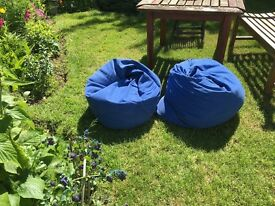 Two large blue bean bags
