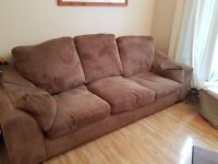 3 seater lovely dark brown chocolate coudroy velour sofa