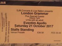 London Grammar Concert Apollo ticket 21st October 100£
