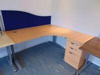 L-Shape Desk Corner Office Workstations with 3 drawer Cabinet 1600MM (W) 1200MM