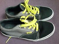 Black/grey and lime green Vans