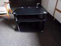 BLACK GLASS TV TABLE - 3 TIERS
