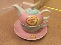 Love Hearts Tea Pot - with teapot, cup and saucer - pink, white and duck egg