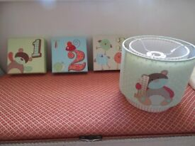 LAMP SHADE AND 3 MATCHING WALL PICTURES