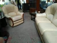 Cream leather 3pc suite