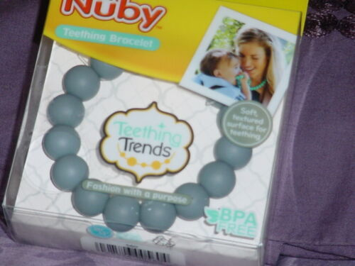 NUBY - Teething Bracelet - NEW - GREY Color - Mommy Jewelry -Silicone -NOT A TOY