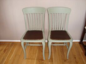 Shabby Chic pair of Dining Chairs painted in Annie Sloan 'Chateau Grey'