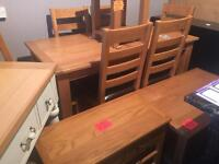 New/Cancelled order**extending solid oak dining table and 6 chairs ONLY £499