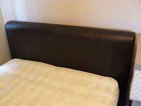 Leather type (faux?) double bed vgc matress included in price
