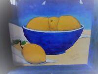 FRAMED HAND PAINTED LEMONS IN BOWL 25X25CM CHUNKY BLUE WOOD FRAME, LEMON PLATTER PLATE