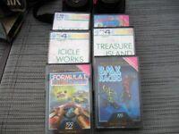 Atari console model cx2600 and six commodore games