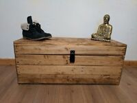 Rustic wooden trunk/chest storage/coffee table ottoman.Handcrafted/reclaimed/clamshell lid design.