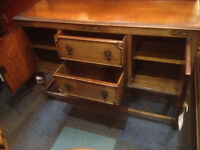 Splendid Antique Rustic Solid Oak Carved Buffet Sideboard Server