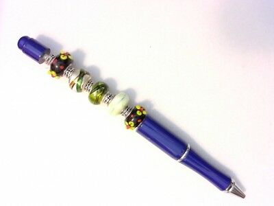 Fancy Artistic Pen - Lampwork Beads - Customizable by You - Blue, Green, Black - Customizable Pens