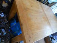 Oak Table Extends Solid Heavy