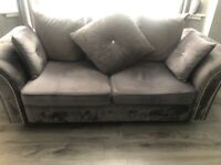 6 weeks old 3/2 silver crush velvet couch for sale must go asap looking for £300 merest offer !!!
