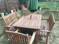 Garden table 2 bench seats and 2 single seats