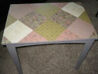 shabby chic side table in solid wood in muted heather colour with decoupaged top