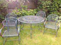 Antique metal Garden Dinning Set, 4 chairs 1 round table