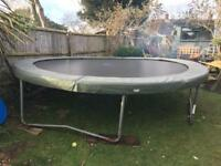 14 FOOT SUPER TRAMP FRAME TRAMPOLINE WITH FAIRLY NEW WEATHERPROOF MAT