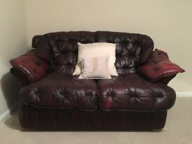 Chesterfield Sofa and Chair Set - Vintage Red / Maroon - Leather