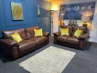 Sold Tan leather suite. 3 seater sofa plus 2 seater sofa