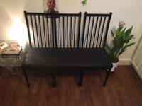 Stunning Matt black chair bench (African waxed design)
