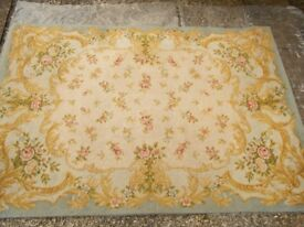 Vintage Floral Wool Rug Roses Within Pale Blue Border 67 inches by 93 inches 1930s