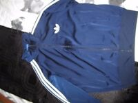 adidas tracksuit top in navy. size large
