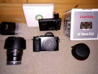 Sony a7 mirrorless camera, 2lenses and accessories