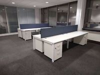 60 - BENCH DESKS - BRAND NEW - WHITE TOPS+ WHITE FRAMES - HI QUALITY