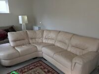 L shape leather cream sofa