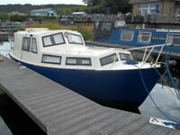 STEEL BOAT CRUISER FOR SALE 23ft - MARINER 20HP OUTBOARD ENGINE, 4 STROKE (approx 30HRS USE)