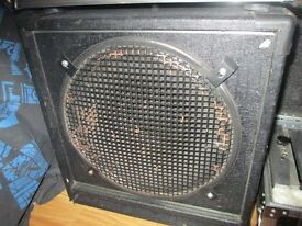 "compact bass cab 1x15"" and 100 watt slave amp"