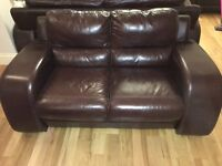 DFS Brown Leather 2 Seater Sofa (New)