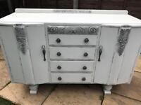 White/ silver sideboard / Dresser shabby chic