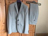 Men's next slim fit grey suit size 42XL jacket 32L trousers worn once wedding work
