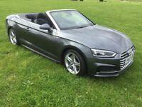 Audi A5 Convertible S-Line,S-Tronic, 2.0tdi, Registered 2017 / 17 plate, Daytona Grey.