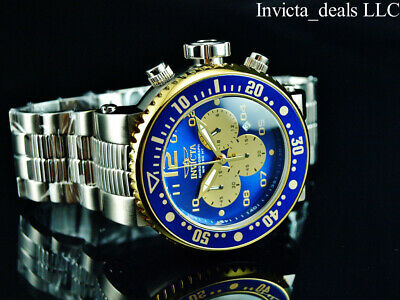 Invicta Men's 52mm GRAND PRO DIVER XL Chronograph BLUE Dial Silver Tone SS Watch