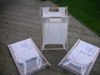 LAUNDRY BASKET / HAMPER. FOLDS AWAY. EASY WASH CANVAS. 3 AVAILABLE AT £4.00 EACH. SEE FULL DETAILS
