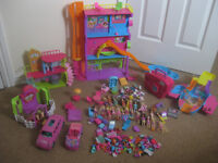 toys-polly pocket dolls huge bundle vgc incl hotel,house,pets,over 20 dolls,cars,horse stable