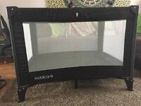 Kiddicare travel cot in black great condition
