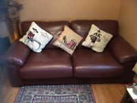 CHESTNUT LEATHER SOFA SETTEE