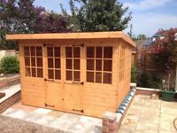 10x8 NEW SUMMERHOUSE GEORGIAN STYLE DEVON PENT T&G 10FT X 8FT.