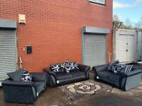 Sold Grey & Black Harvey's sofas 3/2/1 sofas delivery 🚚 sofa suite couch
