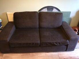 Brown fabric Ikea 2/3 seater sofa