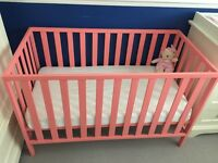 Mothercare pink baby cot - excellent condition with John Lewis Mattress