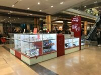 LOCKABLE RETAIL DISPLAY UNITS WATCH AND JEWELLERY KIOSK COUNTER AND TOWER CABINETS LED LIGHTING