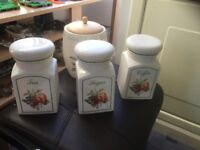 Kitchen storage jars and biscuit tin